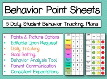 behavior point sheets for daily tracking by mrsmcreativeteaching