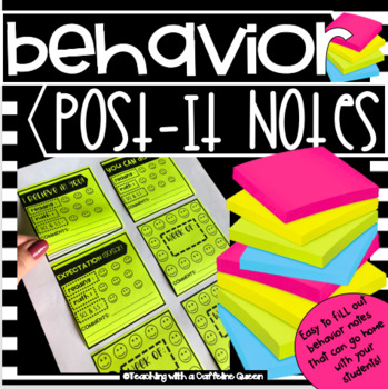 Behavior Post-it Notes EDITABLE - Daily Sticky Notes to Send Home