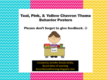 Behavior Posters- Chevron Theme (Teal, Pink, & Yellow)