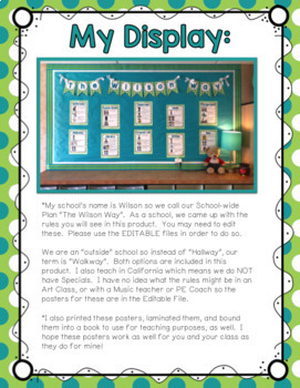 Behavior Posters (supports PBIS, Classroom, or School-wide Rules)
