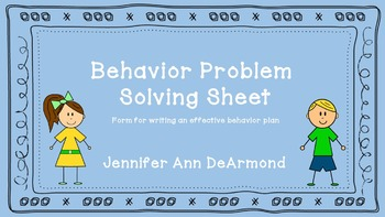 Behavior Problem Solving Sheet