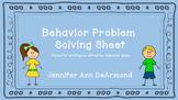 Behavior Problem Solving Sheet