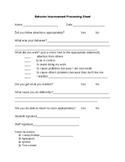 Behavior Processing Sheet
