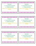 Behavior Punch Card-Editable