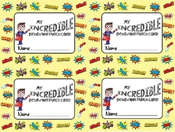 Behavior Punch Card Superhero Theme