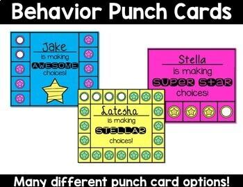 Behavior Punch Cards EDITABLE