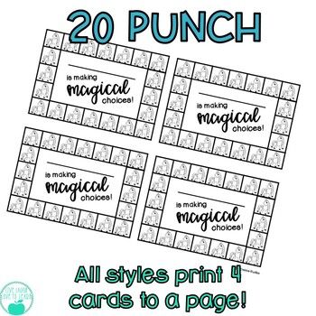 Behavior Punch Cards 10 FUN Themes