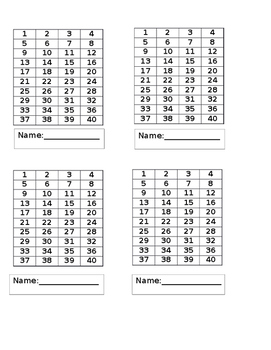 Behavior Punch Cards- 40 Punches Per Card!