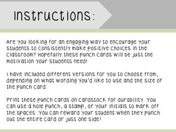Behavior Punch Cards- Classroom Management