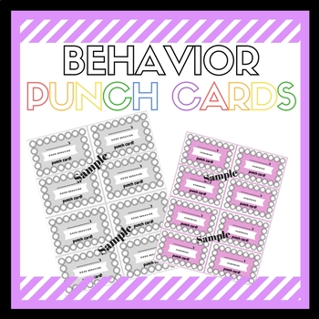 Variety of Behavior Punch Cards- Classroom and Speech Therapy