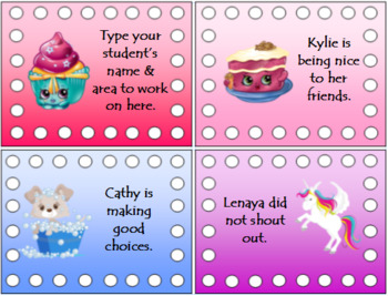 Behavior Punch Cards - Color and Black & White