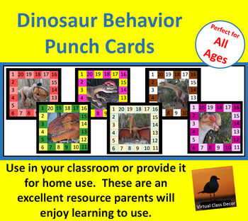 Behavior Punch Cards - Dinosaurs Set 2