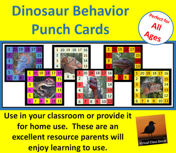 Behavior Punch Cards - Dinosaurs Set 3