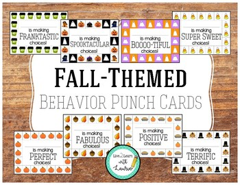 Behavior Punch Cards (Fall Themed)
