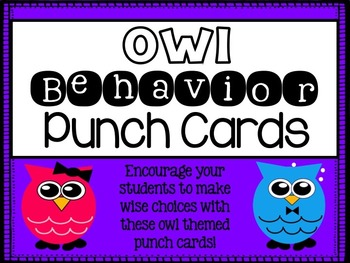 Behavior Punch Cards {Owl Theme}