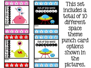 Behavior Punch Cards {Space Theme}