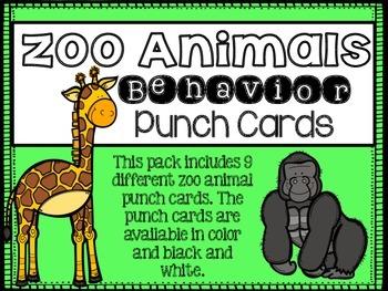 Behavior Punch Cards {Zoo Animal Theme}