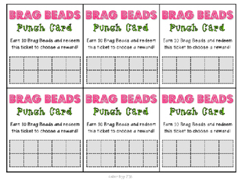 Behavior Punch Cards and Parent Notes