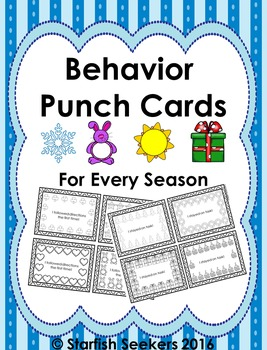 Behavior Punch Cards for Every Season - Blackline Masters