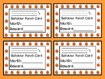 Behavior Punch Cards for the Whole Year (10 Months)