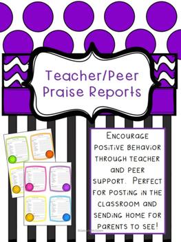 Behavior Record- Teacher & Peer Praise Report