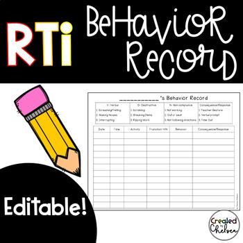 Behavior Record for RTI {EDITABLE!}