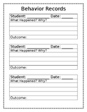 Behavior Recording Sheet