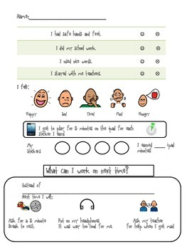 Behavior Reflection Special Education by Nichole's Autism Classroom Supports