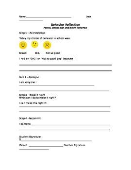 Behavior Reflection-4 point apology
