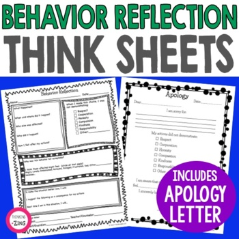 Behavior Reflection Think Sheet and Apology Letter by Wendy Baker