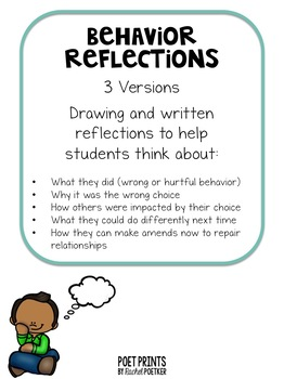 Behavior Reflection Apology Letter by Poet Prints Teaching TpT