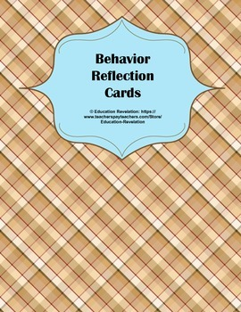 Behavior Reflection Cards for Classroom Management