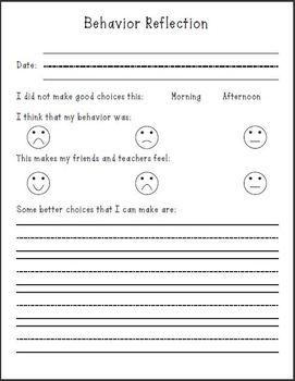 Behavior Reflection Form