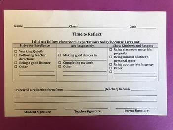 Behavior Reflection Form (123 system)