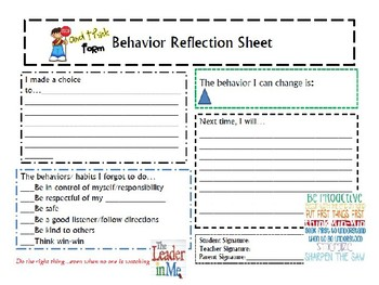 Behavior Reflection Form PLUS/ DELTA