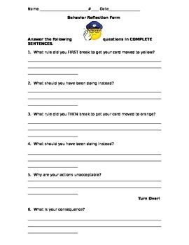Behavior Reflection Form- Classroom Management