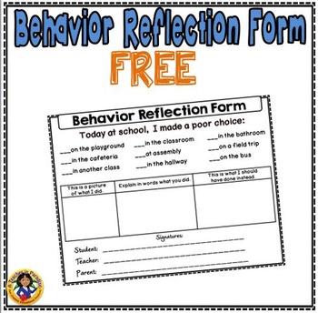 Behavior Reflection Form {Free}