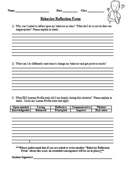 Student Behavior Reflection Form (Includes IB Learner Profile Traits)