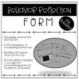 Behavior Reflection Form for Teachers