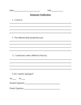 Behavior Reflection Freebie (Editable)