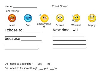 Behavior Reflection - Kid Friendly