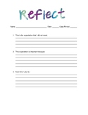 Behavior Reflection Log for Middle and High School Students