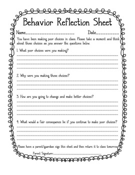behavior reflection sheet by crayons and storybooks tpt. Black Bedroom Furniture Sets. Home Design Ideas