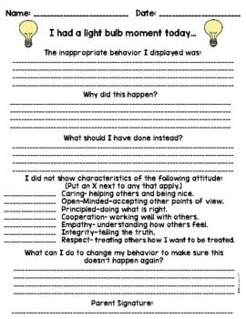 **NEW & IMPROVED Behavior Reflection Sheet