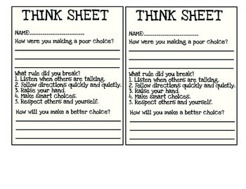 behavior reflection sheet by eal for everyone teachers pay teachers. Black Bedroom Furniture Sets. Home Design Ideas