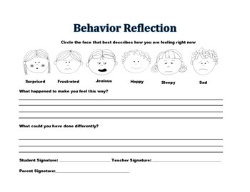 behavior reflection sheet by 3rd grade living tpt. Black Bedroom Furniture Sets. Home Design Ideas