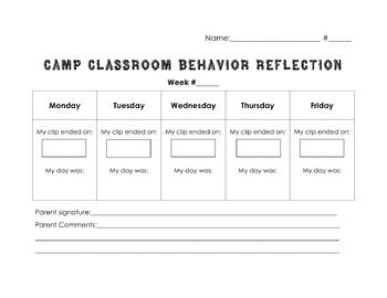 Behavior Reflection Sheet - Editable!