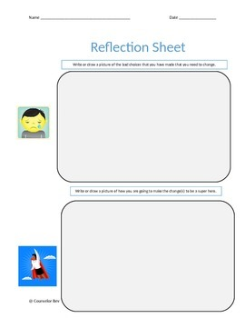 Behavior Reflection Sheet - Primary  3 Different PBIS Guidance Counseling