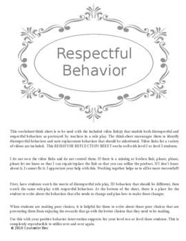 PBIS Behavior Reflection Sheet - Respect w video link PBIS