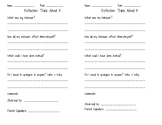 Behavior Reflection Sheet: Think About It